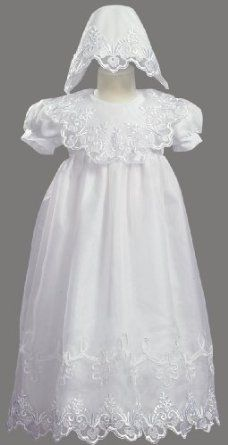 White Embroidered Organza Christening Baptism Gown with Bonnet - M (6-9 Month) lito. $45.95