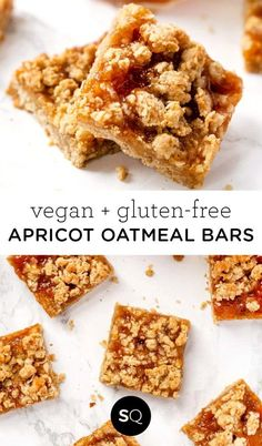 These Healthy Apricot Oatmeal Bars make a delicious and easy breakfast or dessert recipe! Totally vegan and gluten-free with a yummy topping! #oatmealbars #oatmealbarsbreakfast #oatmealbarsrecipe #apricot Sin Gluten, Vegan Gluten Free, Gluten Free Recipes, Gourmet Recipes, Vegan Recipes, Dessert Recipes, Oatmeal Breakfast Bars, Oatmeal Bars, Bread Pudding With Apples