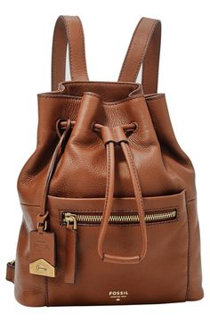 Fossil 'Vickery' Drawstring Leather Backpack