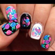 Floral yin yang mani! So colorful! Semi inspired by @knailart
