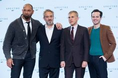 Sam Mendes, Andrew Scott, Christoph Waltz and Dave Bautista at event of Spectre (2015)