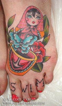 Matrioshka butterfly tattoo