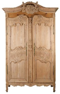 Rare French Hand carved, Pine Wood Armoire, c. 1840's...