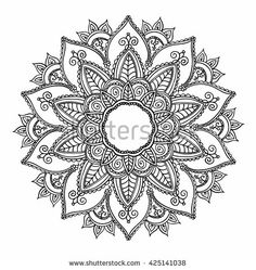 Ornamental round pattern with floral elements for smart modern coloring book for adult, shirt design or tattoo. Vector henna tattoo mandala.