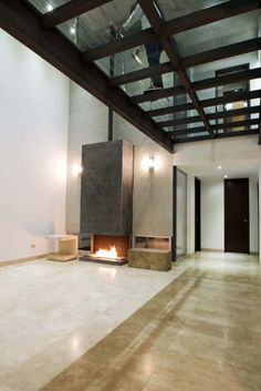 fireplace and glass ceiling/floor