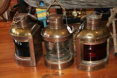 Light the way! Vintage Perko lamps, three piece set #Annapolis #Maritime #Antiques http://wp.me/p3FTDn-KH