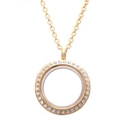 Medium Gold Locket with Crystals - Lily Anne Designs