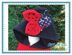458 Ladybug with Wings applique for hooded towels digital design for embroidery machine by Applique Corner