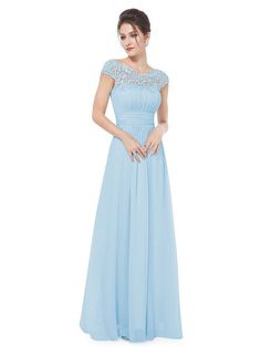 Powder Blue Chiffon Long Bridesmaid Dresses