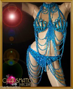 Charismatico Blue Showgirl Beaded Brazil Rio Carnival Cage Bra and Belt   eBay