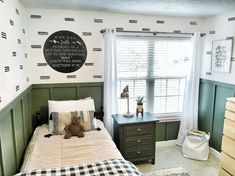 Boys Room Decor - sophisticated fun Oh So Boho Beddys Beds boys room Boys room idea. Beddys bedding in Oh Do Boho. DIY Faux board and batten painted Pristine Wilderness by Sherwin Williams HGTV collection. Wall decals by Lovely Wall Co. Big Boy Bedrooms, Boys Bedroom Decor, Bedroom Green, Baby Boy Rooms, Home Bedroom, Green Boys Room, Room Boys, Teen Bedroom, Beddys Bedding