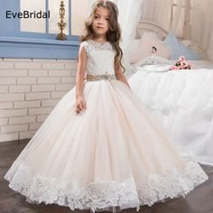 Cheap flower girl dresses, Buy Quality communion dresses for girls directly from China girls flower girl dresses Suppliers: Tulle Lace Sashes Scoop Crystals Flower Girl Dresses for Wedding First Communion Dresses Wedding Party Dress Runway Show Pageant