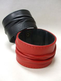 """2"""" wide textured leather cuff bracelets.  Snaps are at 8"""" and 8 3/4 inches with the bracelet measuring 9"""" total.  Quite a statement piece! Email info@ucao.ca for availability. Leather Cuffs, Cuff Bracelets, Artisan, Unique, Craftsman, Bangles"""