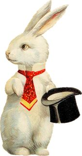 Victorian Bunny with Top Hat and Tie ~ Zibi Vintage Scrap