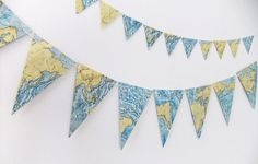 Vintage World Map Bunting - Beach House Banner - Eco-friendly garland upcycled from vintage world atlas by PeonyandThistle on Etsy https://www.etsy.com/listing/155519717/vintage-world-map-bunting-beach-house
