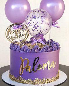 24th Birthday Cake, Girly Birthday Cakes, Beautiful Birthday Cakes, Birthday Cakes For Women, Beautiful Cakes, Cake Designs For Girl, Purple Cakes, Balloon Cake, Birthday Cake Decorating