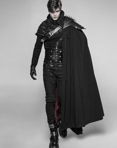 Gothic Male Langer Dracule-Umhang mit markantem Stehkragen Get Growth From Your Plants Article Body: Dark Fashion, Gothic Fashion, Mens Fashion, Fashion Fantasy, Fantasy Outfits, Fantasy Clothes, Mode Steampunk, Mode Costume, Character Outfits