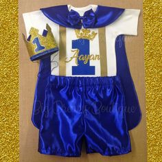 Will ship after Oct. Royal Prince Birthday Prince Outfit, Birthday Prince Cape, Prince Outfit, Prince Onesie, First Birthday Boy Prince Birthday Theme, Baby Birthday Themes, Baby Boy First Birthday, 1st Birthday Outfits, Mickey Mouse Birthday Shirt, Royal Clothing, Royal Prince, Boy Costumes, Boy Outfits