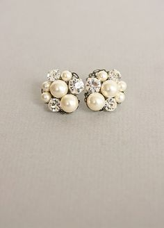 Classy pearl/diamond earring clusters - Click image to find more Women's Fashion Pinterest pins