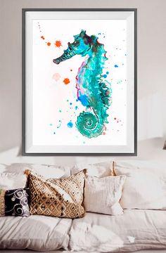 Seahorse 2 watercolor painting print, Seahorse art, animal watercolor, animal illustration, Sea art, turtle print, animal art  Buy two Get one FREE!