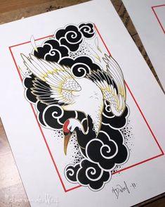 Tattoo Crane, Phönix Tattoo, Tiger Tattoo, Tattoo Drawings, Japanese Cloud Tattoo, Tattoo Japanese Style, Asian Tattoos, Japan Tattoo, Oriental Tattoo