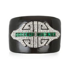 Kenneth Jay Lane  Black & Emerald Deco Cuff
