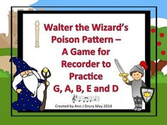 This is a fun way to play the poison pattern game with your students. They will practice their pitch reading and recorder playing skills whilst avoiding the Walter the Wizard's poison pattern.  Directions on how to play this game are included.  Rhythms used in this game are: the quarter note (ta), paired eighth notes (ti-t)i and the quarter rest. And, pitches G, A, B, E and low D.  Note names are included for this game and are written within the notation noteheads.