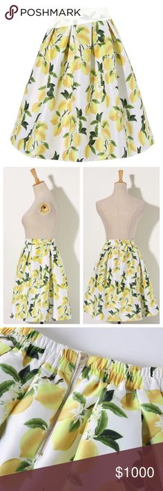 "🆕NEW ARRIVAL!! 🍋Lemon Skirt🍋 Gorgeous lemon skirt, ONE SIZE FITS MOST. Perfect with a crop top, looks great with a jean jacket too!  Back half of skirt has elastic and zips in back. Material itself does not stretch. Waist measures approximately 26"" around while lying flat, 32"" while stretched. Skirt is 22.5"" long from top of waist band to bottom hem. Has white underskirt lining that is about 22.5"" accross(45"" around) and is 16"" long. Skirt itself is substantial and not transparent…"