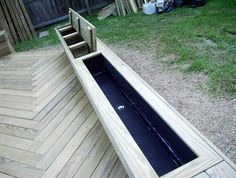 Deck planter with storage box