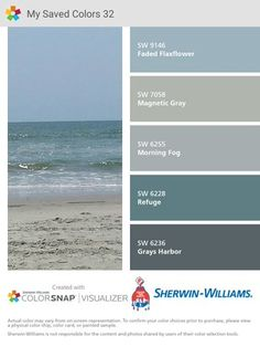 Grays Harbor paint color SW 6236 by Sherwin-Williams. View interior and exterior paint colors and color palettes. Get design inspiration for painting projects. Exterior Paint Colors For House, Interior Paint Colors, Paint Colors For Home, Exterior Colors, Interior And Exterior, Interior Design, Blue Paint Colors, Paint Color Schemes, House Paint Color Combination