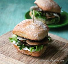 Portobello Sliders with Caramelized Onions and Basil Aoli