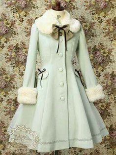 Princess Lolita lolita dress long section of the new autumn and winter fur collar single-breasted cashmere coat/more like a Russian outfit Vintage Outfits, Vintage Dresses, Vintage Fashion, Kawaii Fashion, Cute Fashion, 70s Fashion, Fashion Online, Womens Fashion, Fashion Tips