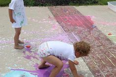 Street paint - equal parts corn starch and water, add food coloring and put into a balloon.