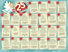 25 Days of Messages!  Things to have your elf to do with your kid. Random acts of kindness instead of focusing on behavior. www.yourchristmasangel.com