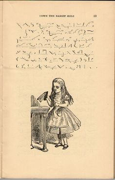 """michaelmoonsbookshop: """" """"Down the Rabbit Hole"""" Pitman's Shorthand Edition of Alice in Wonderland by Lewis Carroll, with the original illustrations by John Tenniel """" [Sold] Pitman Shorthand, Shorthand Writing, Alice In Wonderland Illustrations, Book Illustrations, John Tenniel, Alice In Wonderland Party, Lewis Carroll, Lost Art, Old Books"""