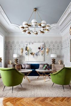 Nice Brass Details And Velvet Furniture In A Perfectly Symmetric Arrangement Of  This Eclectic Living Room
