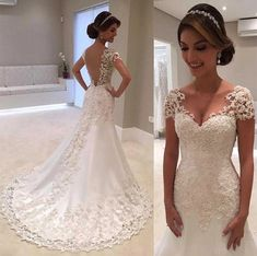Buy it before it ends. There is always many products on sae upto - Vestido De Noiva White Backless Lace Mermaid Wedding Dresses 2019 V-Neck Short Sleeve Wedding Gown Bride Dress Robe de mariage - eTrendings Wedding Gowns With Sleeves, Wedding Dress Sizes, Cheap Wedding Dress, Bridal Dresses, Gown Wedding, Wedding Tips, Wedding Ceremony, Grecian Wedding, Crystal Wedding