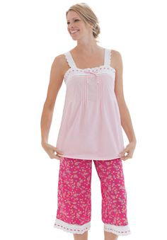Pajamas set in soft cotton with scalloped eyelet lace and ribbon trim by Dreams & Co.®, Plus Size Pajamas - Sets from Woman Within