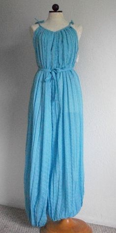 SOLD!!! Chandni NOS/ NWT Vintage 1970s Boho One Piece Blue Jumpsuit Hostess Pajamas- One Size, SOLD!!!