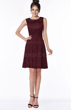 Burgundy Romantic Scoop Zip up Satin Knee Length Bridesmaid Dresses