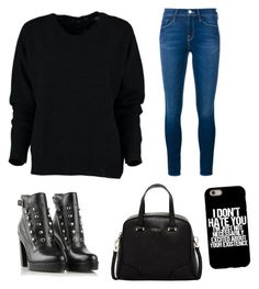 """for romantic black"" by girlyaddict on Polyvore featuring mode, Frame Denim, Diesel et Furla"