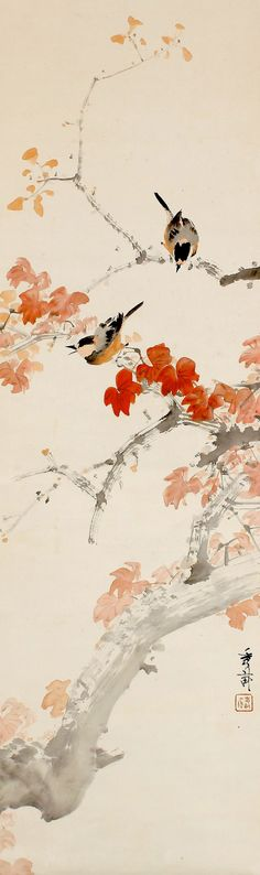 Ikegami Shuho 池上秀畝 (1874-1944), Autumn Sparrows on Mount Momiji, detail.