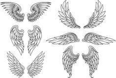 Conjunto Heraldic asas - ilustração de arte em vetor
