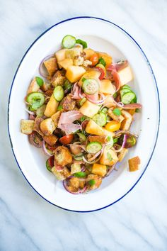 LOVE when Sally from @TableAndDish invents recipes featuring her favorite new ingredients from @Heinens Grocery. This Panzanella Salad featuring sugary Kiss Melons & salty prosciutto is a #Heinens4PMPanic recipe to the rescue that I'll be making this week! Check it out...  http://wp.me/p1NGbX-12mj