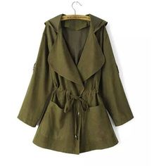 Yoins Green Hooded Drawstring Pockets Trench Coat-Green  S/M/L ($37) ❤ liked on Polyvore featuring outerwear, coats, green, trench coats, hooded trench coat, green trench coat, brown trench coat, brown coat and hooded coats