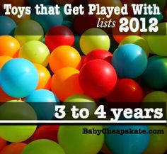 List of toys that kids play like to play with from ages 6 months - 7 years.  Will definitely be looking at this when we start shopping...