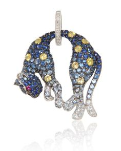 New Wave Jewellery, Panther Pendant in Blue Sapphires (3.04 ct), Yellow Sapphires (0.73 ct), Rubies (0.02 ct) and Diamonds (0.04 ct) in 18k white gold.