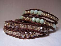 Lavender Bronzed Beaded Leather Wrap by CristinaDavisJewelry, $25.00