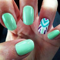 Love my new Mani-Q nails! Mint green and Aztec!