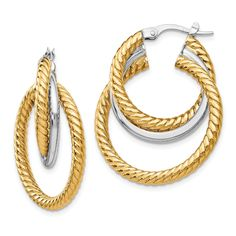 14k Two-tone Polished and Textured Tri-Hoop Earrings TF1173